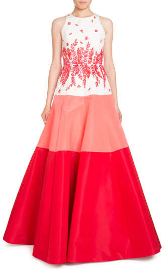 Andrew Gn Sleeveless Beaded Colorblock Ball Gown