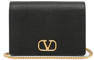 Valentino V-logo Grained-leather Shoulder Bag - Black
