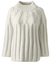 Lands' End Women's Petite 3/4 Sleeve Wool Blend Cable Sweater-Vicuna Heather