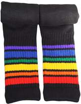 Pride Socks Rainbow Striped Socks Athletic Knee High Tube (Black)