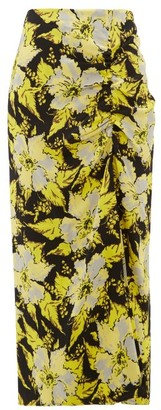 Colville - Floral-print Ruched Crepe Midi Skirt - Womens - Black Yellow