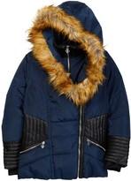 XOXO Faux Fur Trim Hoodoed Asymmetrical Zipper Jacket (Big Girls)