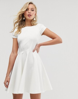 Closet London cap sleeve prom skater dress in ivory-White
