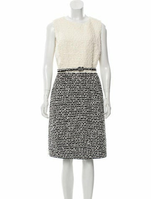 Oscar de la Renta 2018 Wool- Blend Dress White