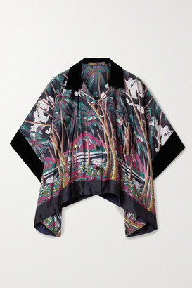 Sacai Oversized Velvet, Tulle And Twill-trimmed Printed Satin Shirt - Blue