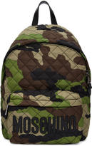 Moschino Green Camo Quilted Logo Backpack