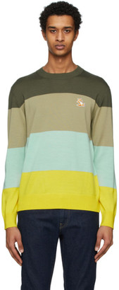 MAISON KITSUNÉ Multicolor Merino Rainbow Stripes Sweater