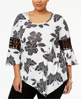 NY Collection Plus Size Printed Lace-Trim Top