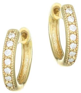 "Jude Frances Classic Diamond & 18K Yellow Gold Huggie Hoop Earrings/0.5"""