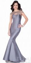 Terani Couture Rhinestone Beaded Web Evening Dress