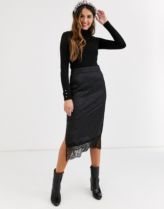 Qed London lace hem midi skirt in black