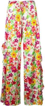 Caroline Constas floral flare trousers