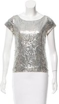 Alice + Olivia Sequined Silk Top