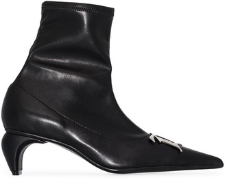 Misbhv Monogram-Plaque Pointed-Toe Ankle Boots