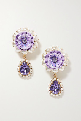 Dolce & Gabbana Gold-tone, Resin, Faux Pearl And Crystal Clip Earrings