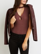 Charlotte Russe Ribbed Cut-Out Mock Neck Bodysuit
