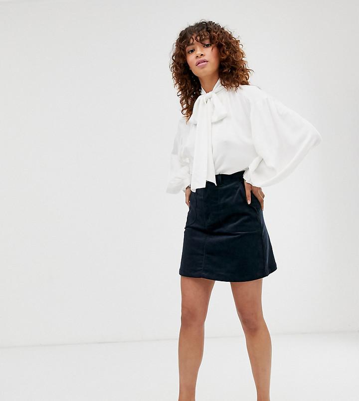 Monki A-line cord mini skirt in navy