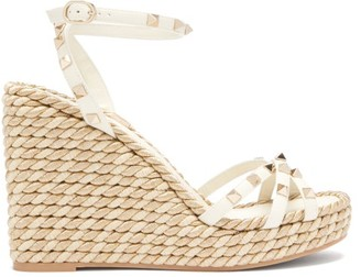 Valentino Torchon Rockstud Leather Wedge Sandals - Gold