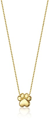"Alex Woo Little Activist"" Yellow Gold Paw Pendant Necklace"