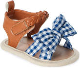 Rising Star (Infant Girls) Blue & Tan Bow-Accented Gingham Sandals