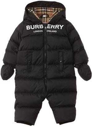 Burberry Logo Print Down Puffer Snowsuit