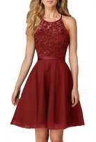 Winnie Bride Stylish Appliques Halter Homecoming Cocktail Bridesmaid Dress Short
