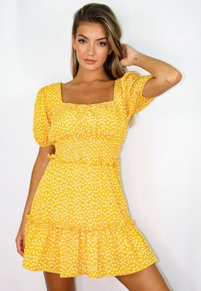 Missguided Yellow Floral Print Shirred Waist Tiered Mini Dress