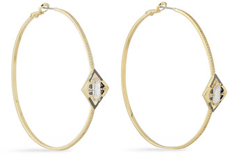 Noir Conquerer 14-karat Gold-plated Crystal Hoop Earrings