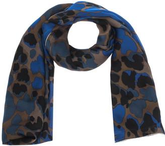 Roberto Cavalli Blue Camouflage Print Silk Scarf