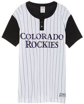 PINK Colorado Rockies Bling Campus Henley Tee