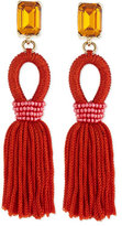 Oscar de la Renta Short Woven Tassel Earrings, Poppy