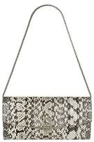 Salvatore Ferragamo Gancini Snakeskin Print Chain Clutch Bag