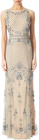 Adrianna Papell Beaded Mermaid Gown, Silver/Nude