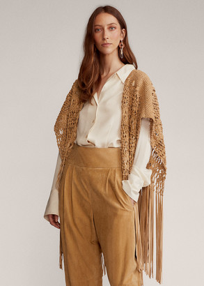 Ralph Lauren Krystie Leather Macrame Poncho
