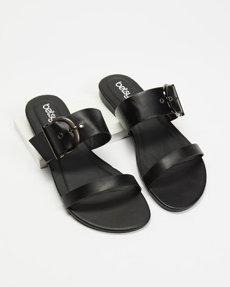 Betsy - Women's Black Flat Sandals - Two Strap Buckle Slides - Size 36 at The Iconic