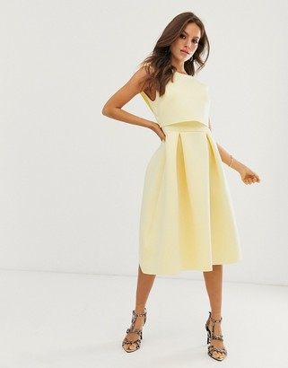 Asos Design DESIGN fold back crop top midi prom dress-Yellow