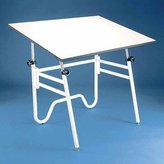"Alvin and Company Alvin Opal Table, Black Base White 31"" x 42"""