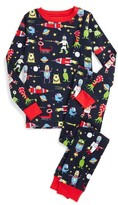 Hatley Boy's Space Aliens Organic Cotton Fitted Two-Piece Pajamas