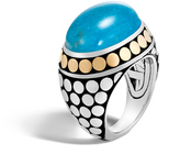 John Hardy Dot Dome Ring, Silver and 18K Gold, 20x15MM Gemstone