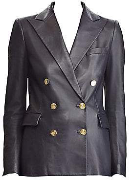 Ralph Lauren Women's Leather Camden Double-Breasted Blazer