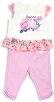 Guess Two-Piece Cap-Sleeve Floral Tee and Pants Set