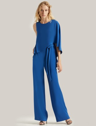 Halston Flowy Draped Jumpsuit