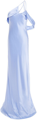 Mason by Michelle Mason One-shoulder Open-back Silk-satin Gown