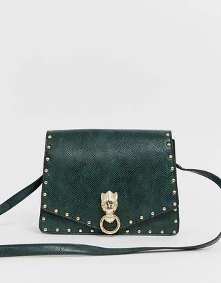 Asos Design DESIGN hardware satchel with stud detail-Green