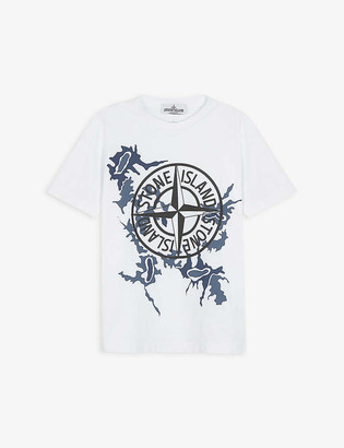 Stone Island Camouflage compass-print cotton T-shirt 4-14 years