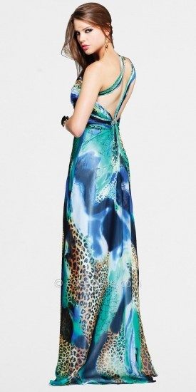 Faviana Glamour Wild Print One-shoulder Evening Dresses with Double Back Straps