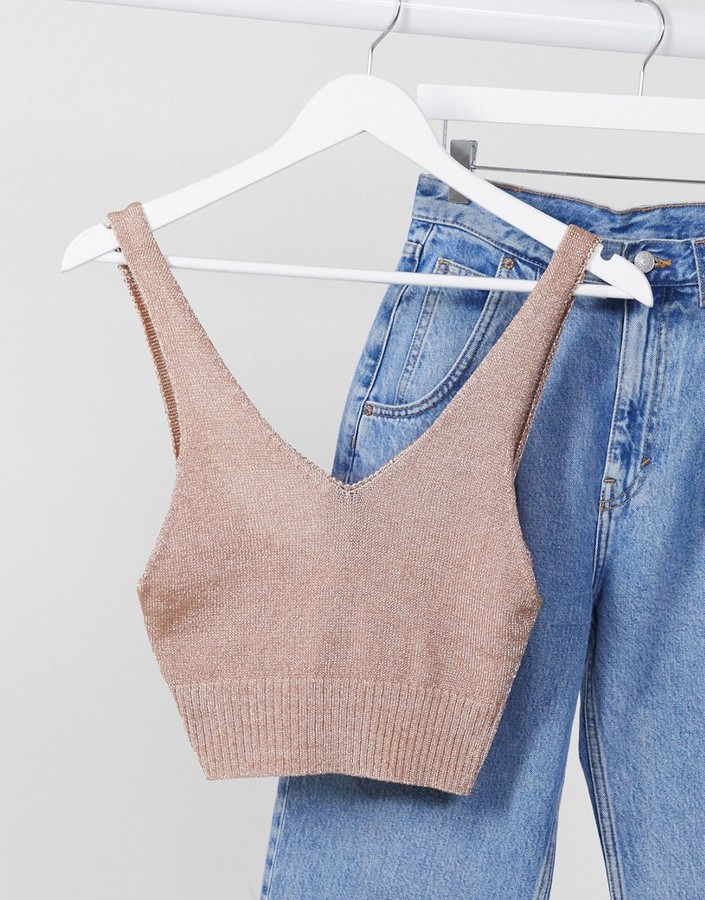 Thumbnail for your product : New Look cropped knitted bralet in rose gold metallic