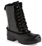 Hunter Women's Genuine Shearling & Patent Leather Lace-Up Rain Boot