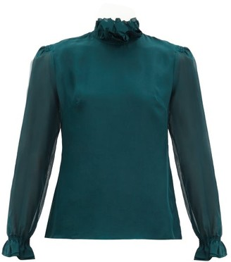 Goat Kasper Frilled-neck Silk Blouse - Dark Green