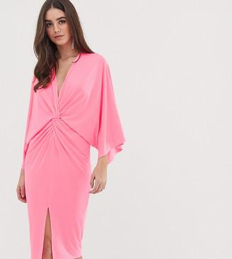 Flounce London Tall kimono midi dress in neon pink